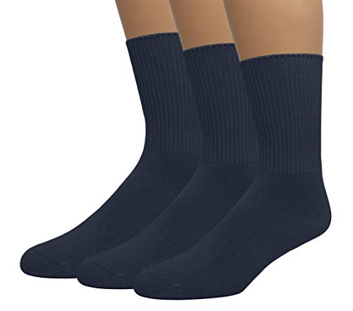 Grandeur Hosiery Men's Big and Tall King Size Diabetic Non-Binding Comfort Top Mid Calf Cotton Crew Socks 3-Pack Navy Large ()