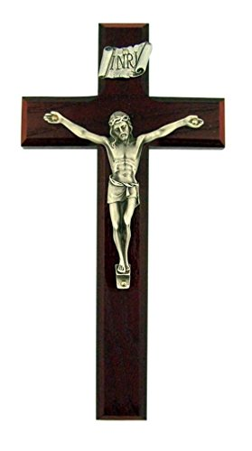 Religious Gifts Beveled Cherry Wood 8 Inch Latin Cross Wall Crucifix with Silver Tone Corpus