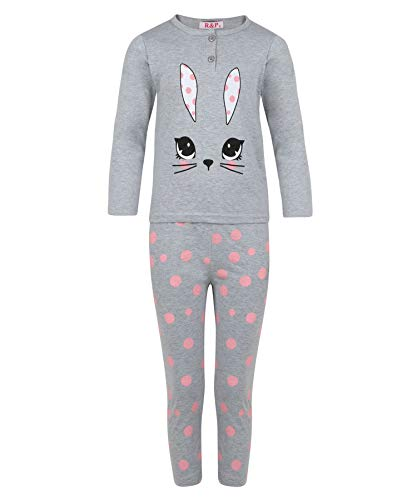 Girls Sleepwear Pyjama Set Rabbit Pullover Dot Print Pants Nightwear 3-14 Years