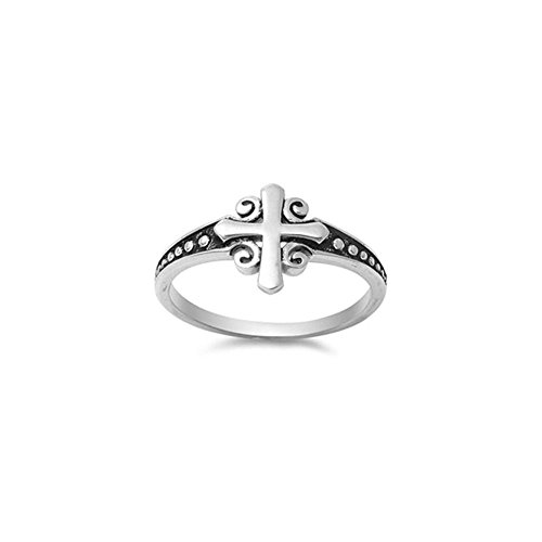 Noureda Sterling Silver Oxidized Rhodium Plated Fancy Cross with Swirl Design Ring, Face Height of 11MM ()