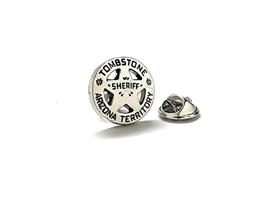 Old West Sheriff (Tombstone Arizona Lapel Pin Old West Shiny Silver Tone Territory Sheriff Lone Star Badge Tie)