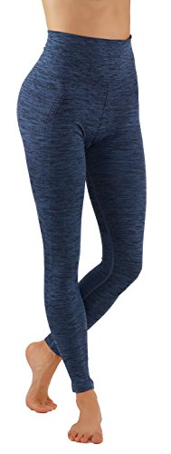 Leggings Ribbed - Pro Fit Yoga Pants Dry Fit Compression Workout Leggings (S/M USA 2-6, PF605-D.Blue)