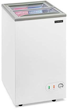 KLARSTEIN Pro Eispalast - Congelador con tapa corrediza de vidrio, 60 L, catering, comercial, snack bar, 47,5 x 84 x 55 cm, congelador, puerta corrediza de vidrio, cesta colgante, blanco: Amazon.es: Hogar
