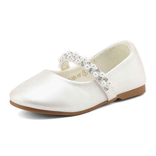 DREAM PAIRS SERENA-100-INF Mary Jane Casual Slip On Ballerina Flat Toddler New Ivory Size 5 (Kids Dress Shoes Ivory)