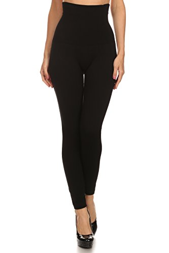 ICONOFLASH Women's High Waist Control Top Compression Leggings (Black, One Size)