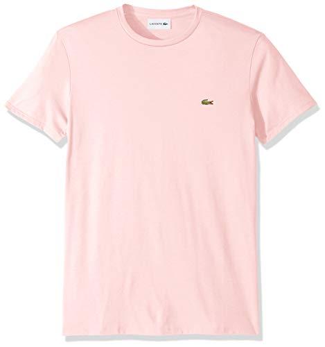(Lacoste Men's Short Sleeve Crew Neck Pima Cotton Jersey T-Shirt, Flamingo, Large)
