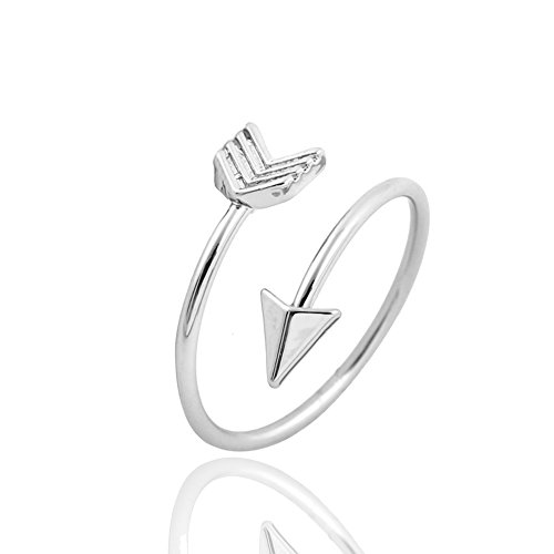 METTU Silver and Rose Gold Open Adjustable Love Arrow Ring for Girls (Silver)