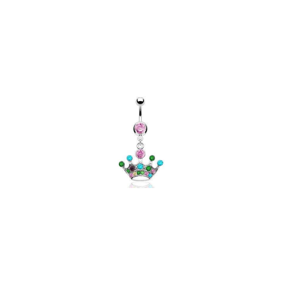 Crystal Cubic Zirconia Dangling Princess Crown Belly Ring   16GA