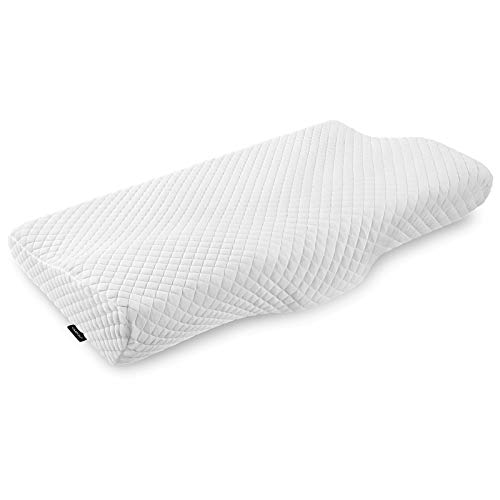UMIOU Contour Cervical Memory Foam Pillow Orthopedic Sleeping Pillows for Neck and Shoulder Pain Relief, Ergonomic Pillow for Side, Back and Stomach Sleepers with Pillowcase-White (Queen Size)