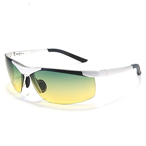 verano UV400 lentes Día masculina calientes hombres TIANLIANG04 conducción forma Noche gafas polarizadas gafas Argento gafas protección 8806 de hombres de plata Los sol de de paqUPq1