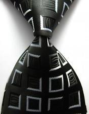 jacob alex #38815 Classic Necktie Black&Gray Plaids WOVEN JACQUARD Silk Men's Suits Tie s - Mlb Necktie