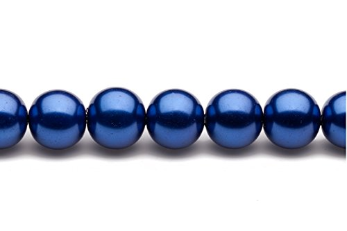 Blue Moon Glass Round Pearls (14mm round metallic-tone royal blue glass pearls 16inch sting)