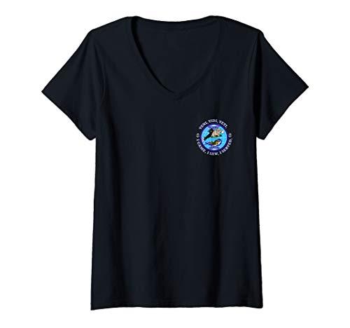 (Womens USS BUFFALO SSN-715 PATCH IMAGE V-Neck T-Shirt)