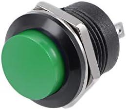uxcell 押しボタンスイッチ プッシュボタンスイッチ ラウンドボタン 瞬間 16mm R13-507 SPST 1 NO 1 NC グリーン 10個入り