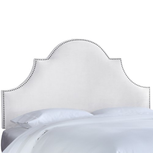 Arch Full Headboard (Skyline Furniture Nail Button High Arch Notched Headboard, Full, Velvet White)