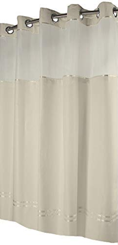 Snap Beige Stripes (Hookless Monterey Hotel Quality Shower Curtain with Snap in Liner - Beige with Beige Stripe, 71 IN. X 77 IN.)