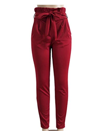 FOYUN Women Casual Ruffle High Waist Pencil Slim Pants with Bow Tie Belt (L, Wine Red)