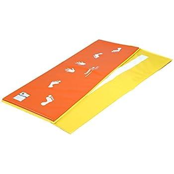 Tumbl Trak Orange and Yellow Cartwheel Beam Mat, Hands and Feet on Orange Side and Beam Line on Yellow Side, 2-Feet Width x 6-Feet Length x 5/8-Inch Height