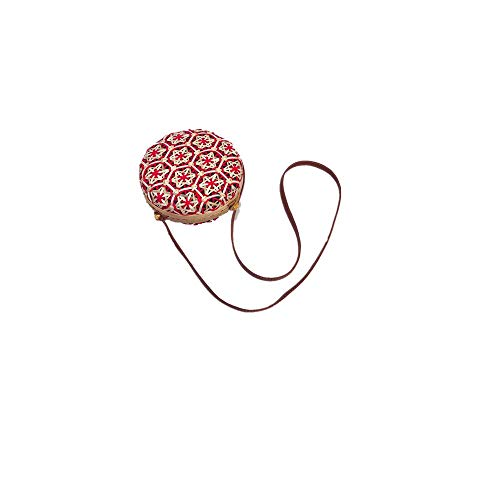 Outique Crossbody Circle Handwoven Bali Round Retro Rattan Straw Beach Multicolor Fashion Bag for Women Girls