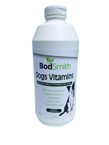 BodSmith Liquid Dog Vitamins + Glucosamine MSM Joint Support + Digestive Enzymes