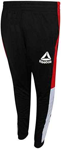 (Reebok Boys Poly Tricot Active Jogger Pants, Black/Red/White,)