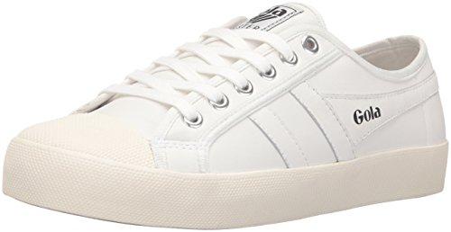 Gola Women's Coaster Leather Fashion Sneaker, White/Off White, 5 M US