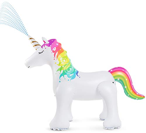Jasonwell Unicorn Sprinkler Inflatable Unicorn Water Toys Outdoor Inflatable Ginormous Unicorn Yard Sprinkler for Kids (L) (Toys Inflatable)