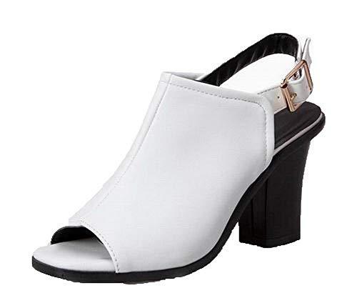 Cuir Unie GMBLB015413 Haut à PU Sandales Boucle Couleur AgooLar Blanc Femme Talon B8Av1YFq