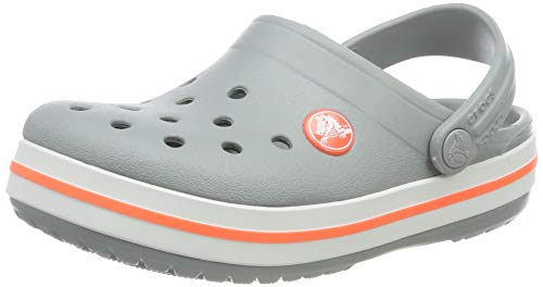 Crocs Kids' Crocband Clog,Light Grey/bright coral,10 M US Toddler