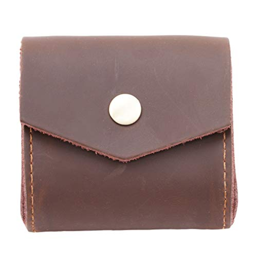 Price comparison product image DearAnswer Vintage Leather Earphone Headset Earbuds Storage Case Square Coins Change Keys Card Holder Bag, Coffee