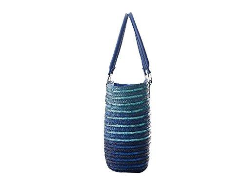 Striped Handbag Large Ladies FAIRYSAN Bags Women Tote Blue Shoulder Straw Sequins Simple Beach XwTtTZYqA