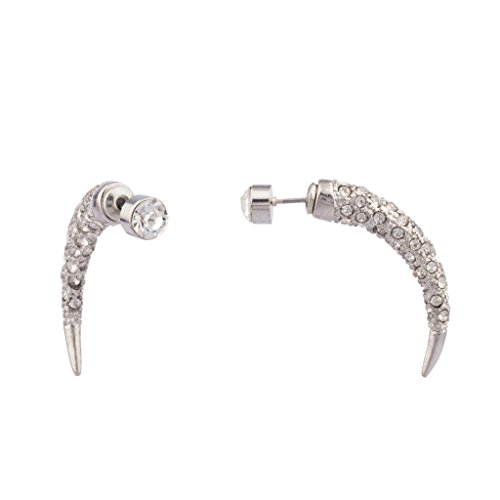 Lux Accessories Pave Crystal Claw Stud Earrings.
