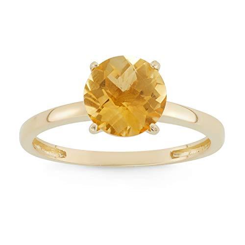 Celebration Moments Citrine Round Shape Ring in 10K Gold, 8mm - Size 10 ()