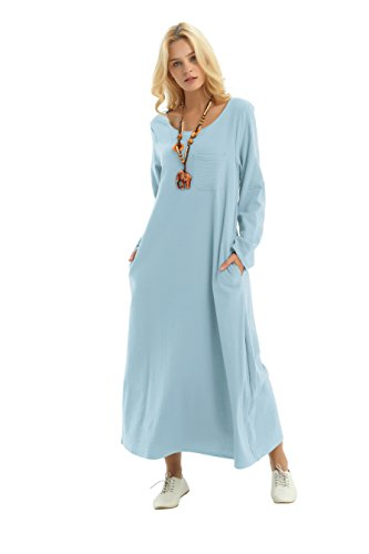 - Anysize Long-Sleeved Linen Cotton Spring Summer Dress Plus Size Clothing F148A Light Blue