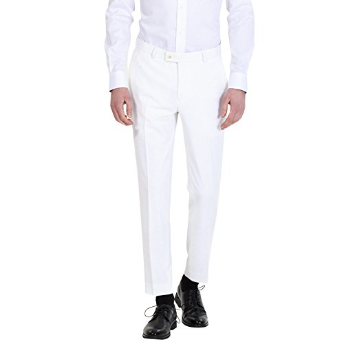 HBDesign Mens Formal Slim Fit Flat Front Straight Iron Free Trousers White ()