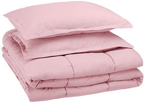 AmazonBasics Easy-Wash Microfiber Kid's Comforter and Pillow Sham Set - Full or Queen, Light Pink (Comforter Queen Light Pink)