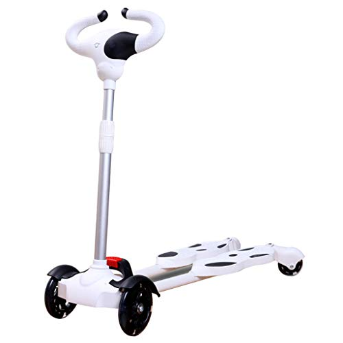 Scooter 4 Wheeled Push Swing Wiggle Scooters Age 2-10 Years Colorful Flash Wheel Best Gifts Kids, Boys Girls Carving Scooter (White)
