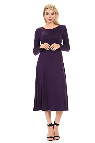 iconic luxe Women's Long Sleeve A-Line Midi Dress Medium Eggplant