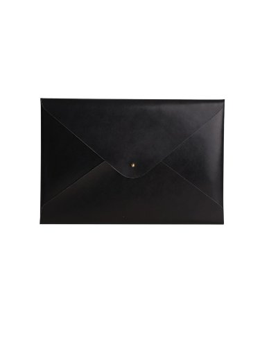 Paperthinks 9 x 13 Inches Shiny Black Recycled Leather File Folder (PT00953) (Leather Folder Document)