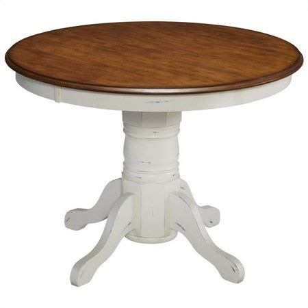 42 Inches Round Beautiful Proud French Leg Design Countryside Pedestal Table, Sturdy Hardwood Solids and Durable Engineered Wood, Rich Oak and One of a Kind Clean Charming Rubbed White Finish by eCom Rocket LLC