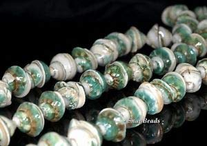 Spiral Shell Gemstone Green Cream Spiral Swirl Corkscrew 15X7MM Loose Beads 16