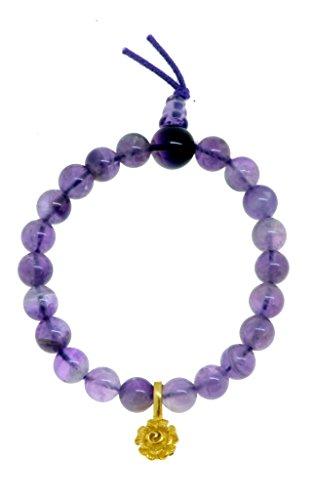 Rose Quartz Rosary Bracelet (Tibetan Yoga Meditation Simulated Amethyst Charm Japa Rosary Wrist Mala Prayer Beads Bracelet (Rose))
