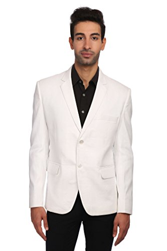 WINTAGE Men's Linen Tailored Fit Solid Evening/Casual Blazer Coat Jacket : White, XXXXX-Large