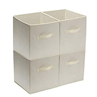 YueYue Foldable Cloth Storage Cube Basket Bins Organizer,4 Pack Fabric Stroage Bins,Open Home Fabric Box Great for Home&Office Color Beige 12 x12 x13