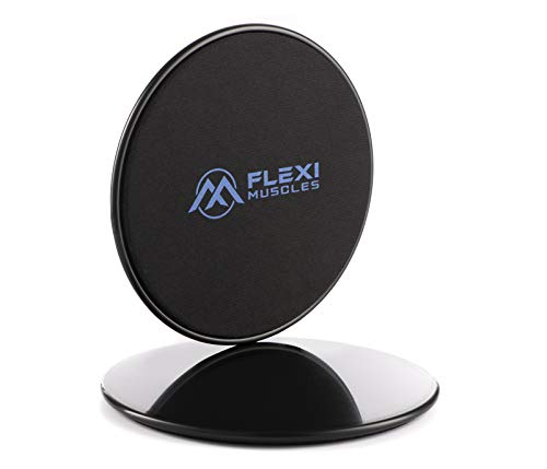 Flexi Muscles Core Sliders Dual Sided Sliding Discs for Use on Carpet or Hardwood Floors. Fitness Equipment Ideal for Abdominal (Abs) Workout and Legs Exercises.