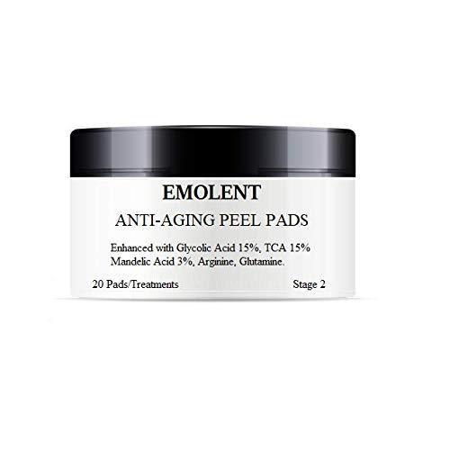 EMOLENT, Anti-Aging Peel Pads Enhanced with Glycolic Acid 15%, TCA 15%, Mandelic Acid 3%, Arginine, Glutamine, 20 Pads/Treatments (Best Chemical Peel For Pitted Acne Scars)