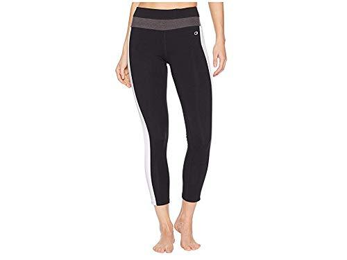 Champion Women's Authentic 7/8 Legging, Black/White/Granite Heather, L