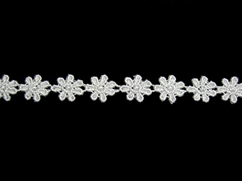 Altotux 3/8 inches Small Dainty Ivory Floral Venice Lace Daisy Flower By 5 - Trim Daisy