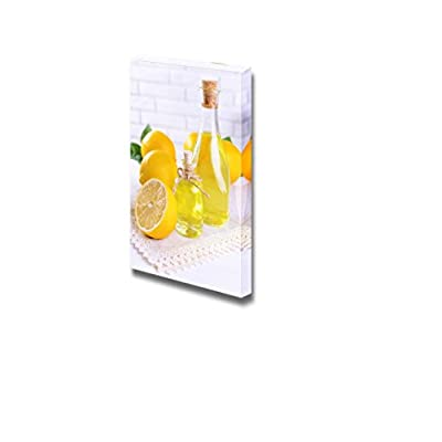Canvas Prints Wall Art - Still Life Lemon Oil/Juice on Table | Modern Wall Decor/Home Decoration Stretched Gallery Canvas Wrap Giclee Print & Ready to Hang - 48
