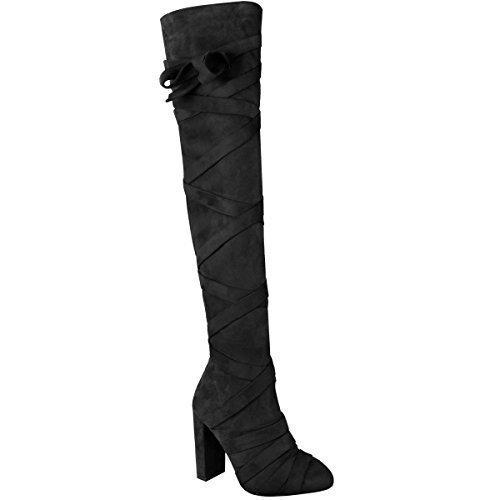 la fiesta Thirsty de altas Womens Ladies altos Moda botas Tamaño tiras Suede muslo Faux de rodilla sobre Tacones Bloque Negro 0PqZnd